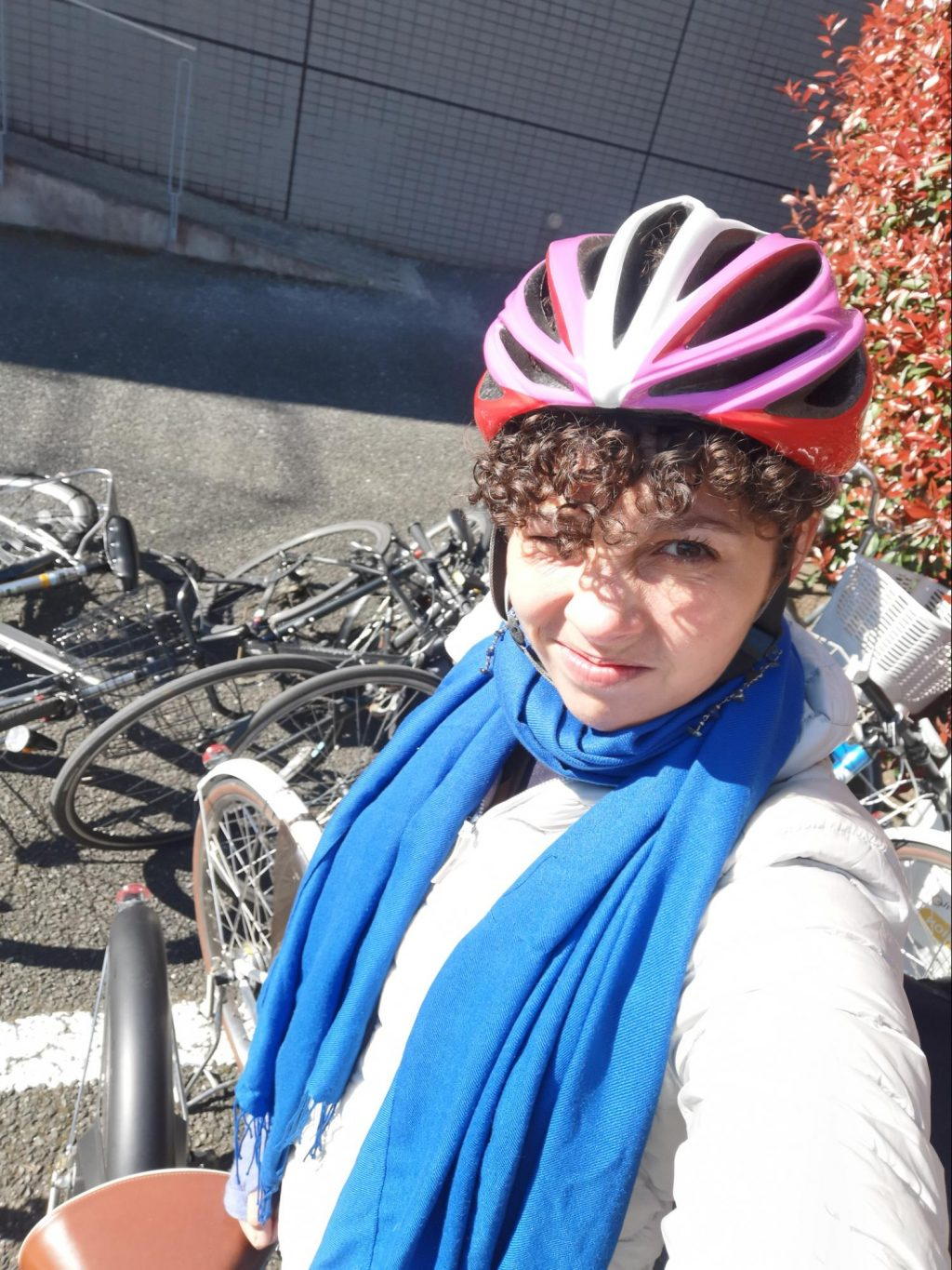 Selfie in front of the bike disaster area