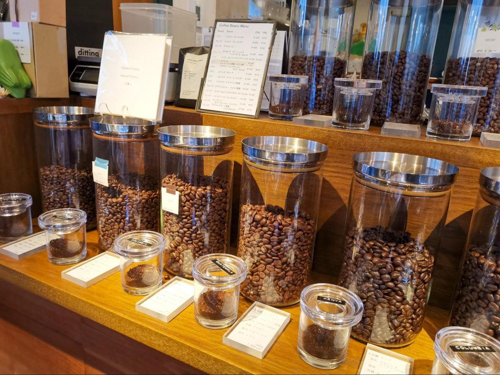 a small cosy coffee shop, with plants adorning the window and jars of beans lining the counter