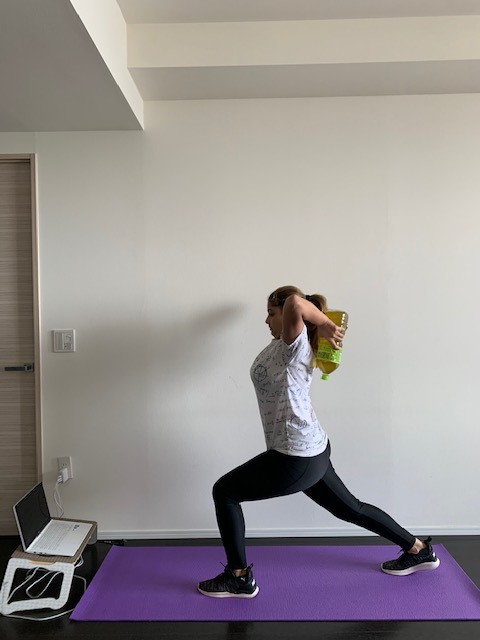 Green Tea overhead triceps lifts with a lunge walk