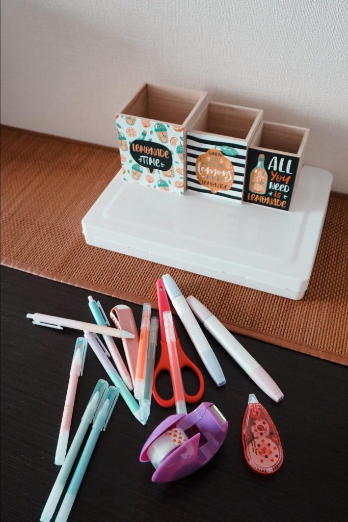 Stylish holders for pens and scissors before