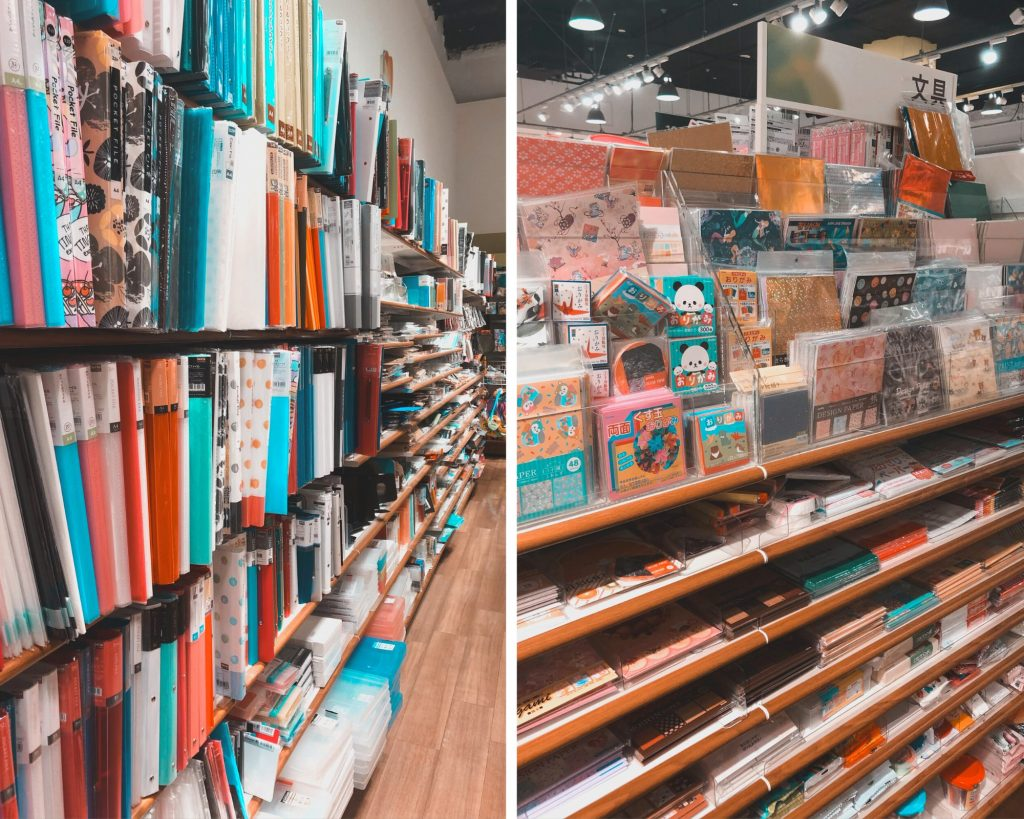 Seria has endless choices in design papers, folders, pens, and even art supplies