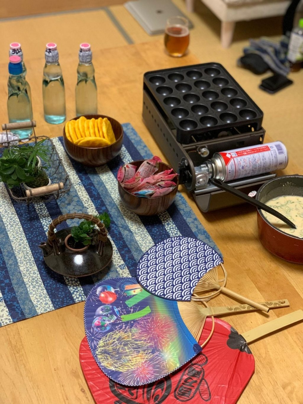 everything set up for our at-home Natsu matsuri festival
